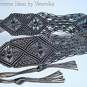 Аксессуары ручной работы. Ярмарка Мастеров - ручная работа «Подиум», плетёный пояс, чёрный, макраме. Handmade.