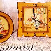 Часы классические ручной работы. Ярмарка Мастеров - ручная работа Комплект для кухни (часы+тарелка). Handmade.