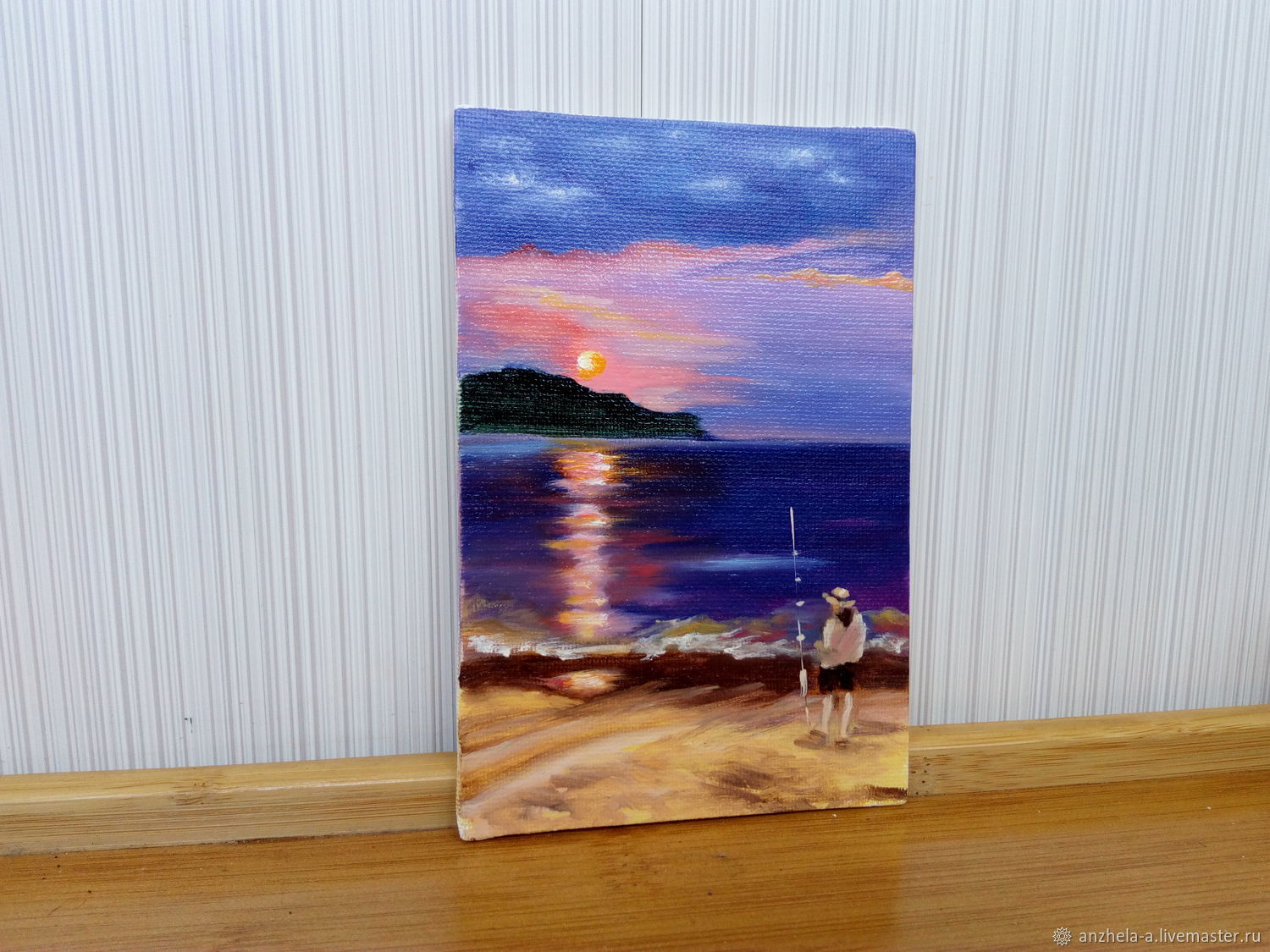 'Crimson Moonlight path ' miniature oil on canvas, Pictures, Moscow,  Фото №1