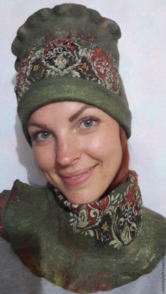 Шапки ручной работы. Ярмарка Мастеров - ручная работа. Купить Кичка Сорока валяная шапка и шарф. Handmade. Тёмно-зелёный