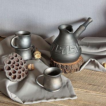 """Посуда ручной работы. Ярмарка Мастеров - ручная работа Глиняные чашечки+турка. Комплект """"Греческий"""" чернолощеный для  кофе. Handmade."""