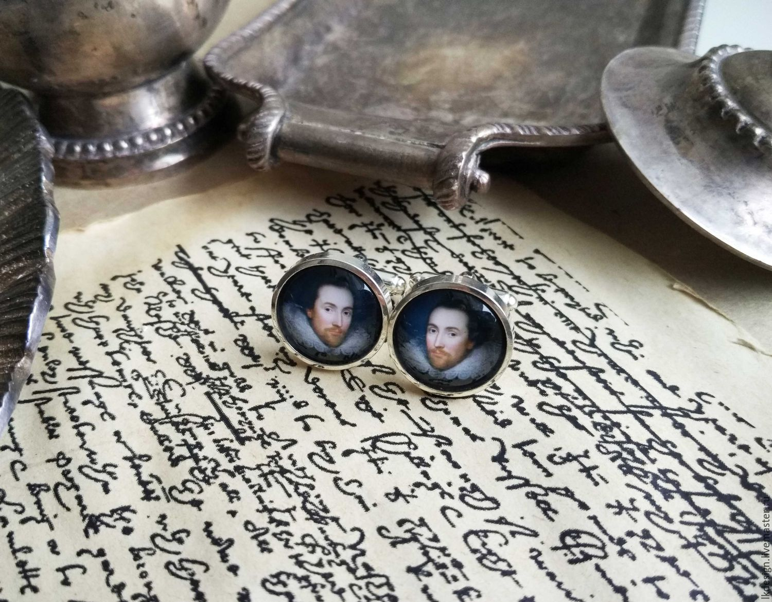 Cufflinks silver plated Shakespeare, Cuff Links, Moscow,  Фото №1