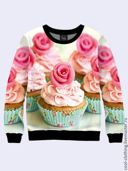 """Кофты и свитера ручной работы. Ярмарка Мастеров - ручная работа. Купить Свитшот """"Кексики"""". Handmade. Розовый, женская кофта, кекс"""