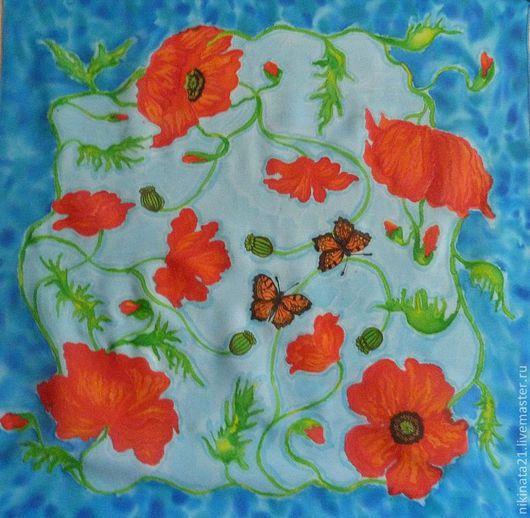 """Шали, палантины ручной работы. Ярмарка Мастеров - ручная работа. Купить платок """"Маковые сны"""". Handmade. Тёмно-бирюзовый, цветочный"""