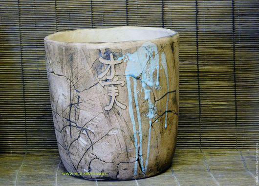 Экстерьер и дача ручной работы. Ярмарка Мастеров - ручная работа. Купить вазон шамотный Ансин-сад душевного спокойствия. Handmade.