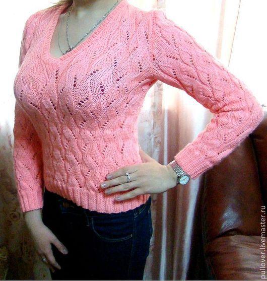 """Кофты и свитера ручной работы. Ярмарка Мастеров - ручная работа. Купить Пуловер  """"Чайная роза"""". Handmade. Бледно-розовый, полувер"""