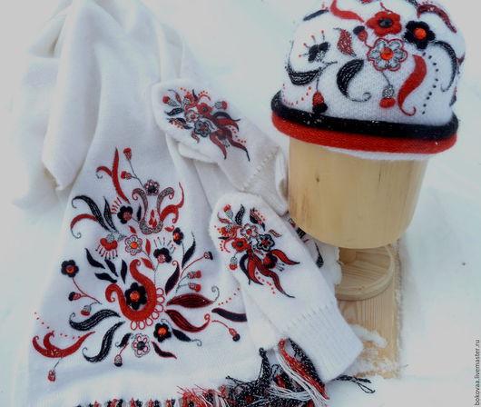 """Комплекты аксессуаров ручной работы. Ярмарка Мастеров - ручная работа. Купить Комплект """"Пламя на снегу"""". Handmade. Белый, шапка вязаная"""