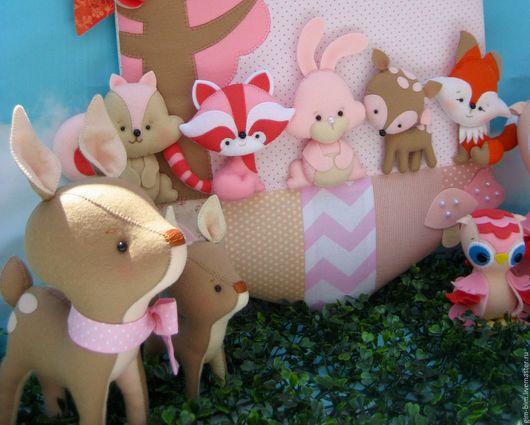 """Детская ручной работы. Ярмарка Мастеров - ручная работа. Купить Именное панно """"Зачарованный лес"""" (для девочки). Handmade. Кремовый"""