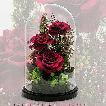 Сувениры и подарки ручной работы. Ярмарка Мастеров - ручная работа Стабилизированные розы и растения в стеклянной колбе.. Handmade.