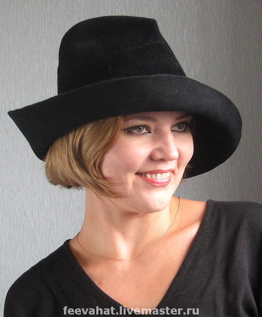 """Шляпы ручной работы. Ярмарка Мастеров - ручная работа. Купить Черная велюровая шляпа """"Интрига"""". Handmade. Головной убор, черный"""