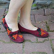"""Обувь ручной работы. Ярмарка Мастеров - ручная работа балетки""""Рябинки"""" вязаные. Handmade."""