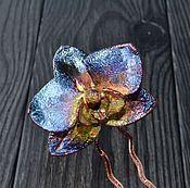 """Украшения ручной работы. Ярмарка Мастеров - ручная работа Шпилька для волос из омедненного цветка орхидеи """"Синяя"""", гальваника. Handmade."""