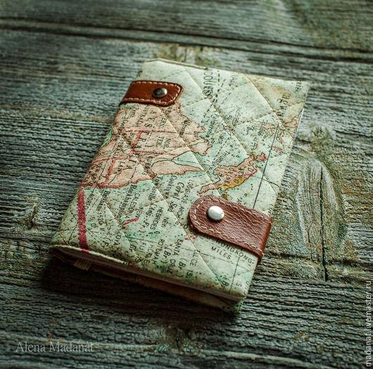 """Обложки ручной работы. Ярмарка Мастеров - ручная работа. Купить обложка на паспорт """"Кругосветное путешествие"""" 2. Handmade. Бежевый, путешествие"""