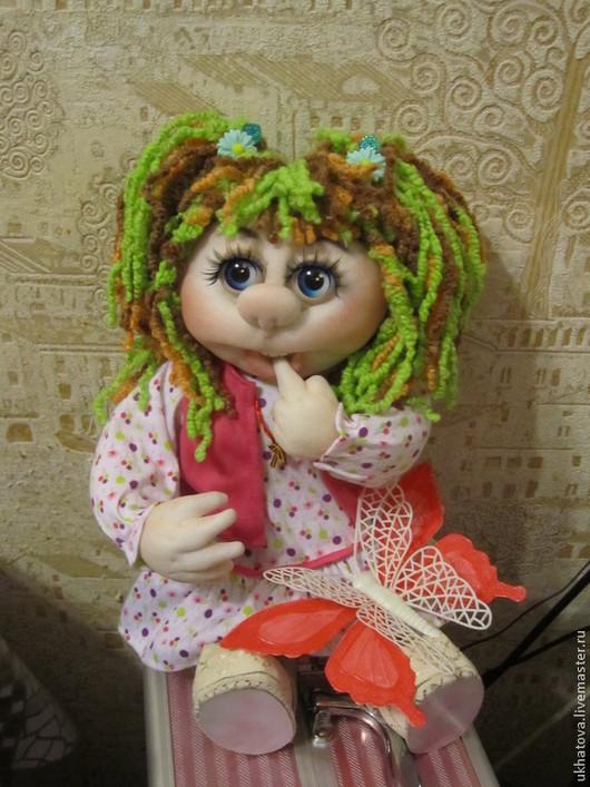 Человечки ручной работы. Ярмарка Мастеров - ручная работа. Купить Кукла с бабочкой. Handmade. Розовый, цветные волосы, туфельки из кружева