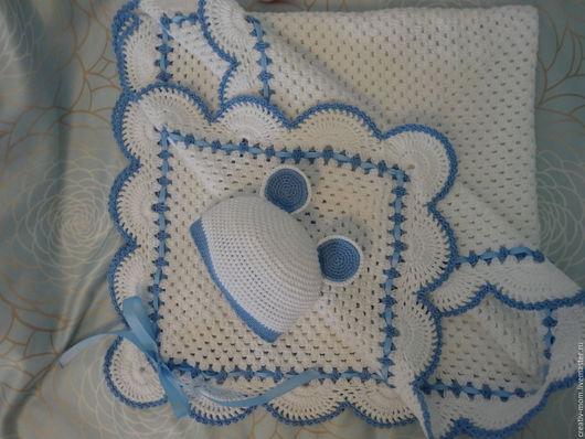 """Для новорожденных, ручной работы. Ярмарка Мастеров - ручная работа. Купить Комплект """"Белый мишка"""". Handmade. Комбинированный, вязанный плед"""