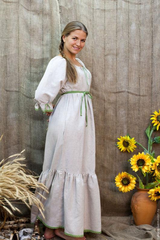 Платья ручной работы. Ярмарка Мастеров - ручная работа. Купить Платье Матрешка с поясом. Handmade. Бежевый, платье в русском стиле