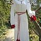 Одежда ручной работы. Ярмарка Мастеров - ручная работа. Купить Платье славянское Лебедушка с ручной вышивкой. Handmade. Красный