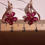 Винтаж handmade. Livemaster - original item Earrings CORUNDUM gold on silver, USSR, luxury ideal!. Handmade.