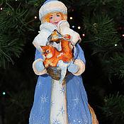 Дед Мороз и Снегурочка ручной работы. Ярмарка Мастеров - ручная работа Новогодняя игрушка из ваты   СНЕГУРОЧКА. Handmade.