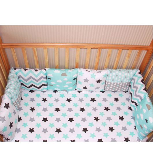 Детская ручной работы. Ярмарка Мастеров - ручная работа. Купить Бортики-подушки в детскую кроватку. Handmade. Комбинированный, подушка для детей