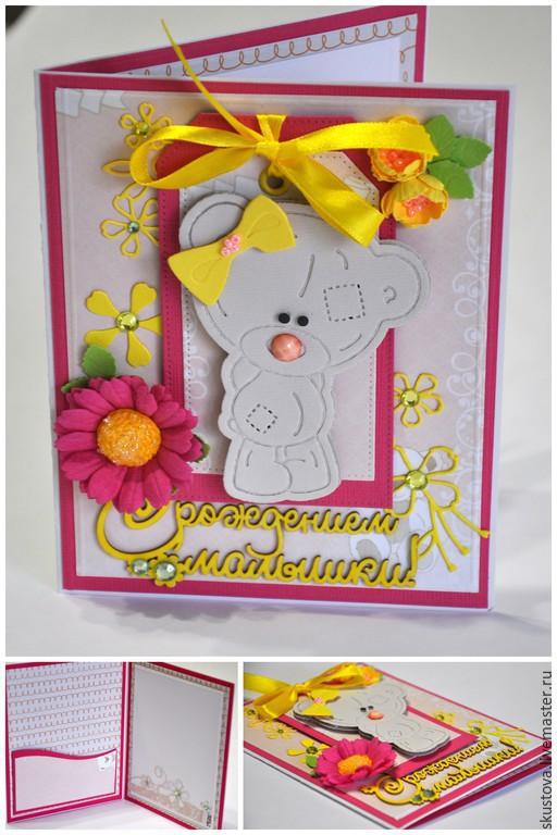 Детские открытки ручной работы. Ярмарка Мастеров - ручная работа. Купить Детская открытка « С рождением малышки». Handmade.