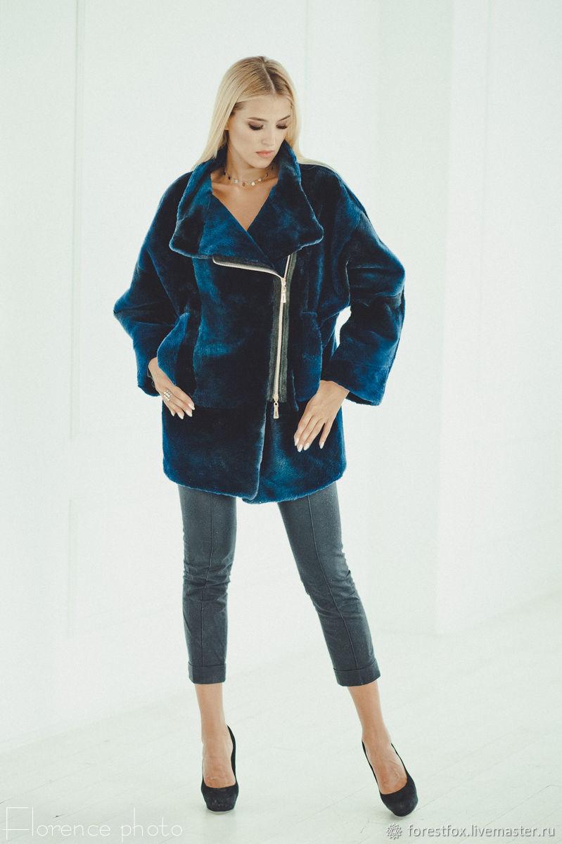 Beaver fur jacket in blue, Fur Coats, Moscow,  Фото №1