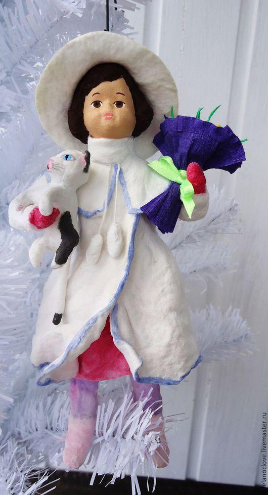Новый год 2017 ручной работы. Ярмарка Мастеров - ручная работа. Купить Ватная елочная игрушка - Девочка с котом и цветами. Handmade.