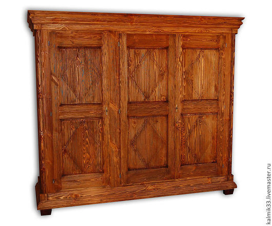 Мебель ручной работы. Ярмарка Мастеров - ручная работа. Купить Шкаф трех створчатый из сосны. Handmade. Коричневый, ящик, состаривание