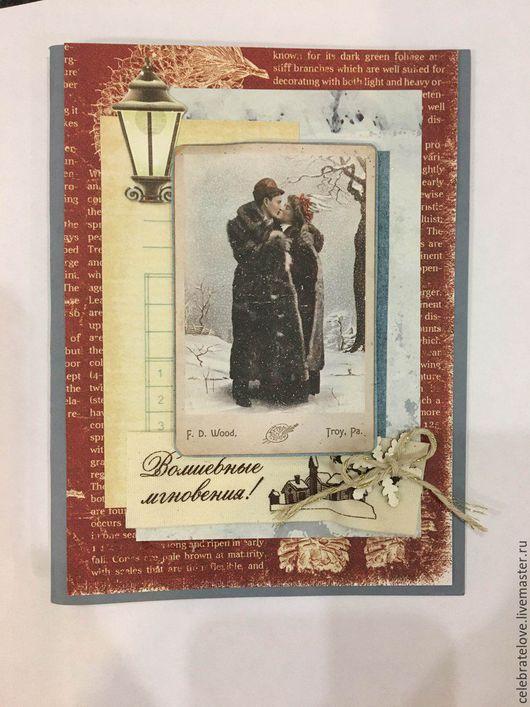 Броши ручной работы. Ярмарка Мастеров - ручная работа. Купить новогодняя открытка. Handmade. Бордовый, новый год 2016