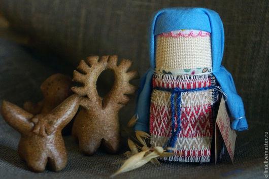 Народные куклы ручной работы. Ярмарка Мастеров - ручная работа. Купить Домовушка. Handmade. Голубой, ситец
