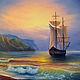 Пейзаж ручной работы. Ярмарка Мастеров - ручная работа. Купить В путь! (морской пейзаж). Handmade. Море, парусник