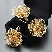 Украшения ручной работы. Ярмарка Мастеров - ручная работа Необычные украшения, позолоченные, серьги и кольцо, крупные - Флора. Handmade.