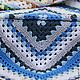 Текстиль, ковры ручной работы. Заказать Плед из больших квадратов Лесной. Домовенок. Ярмарка Мастеров. Зеленый, синий, плед вязаный