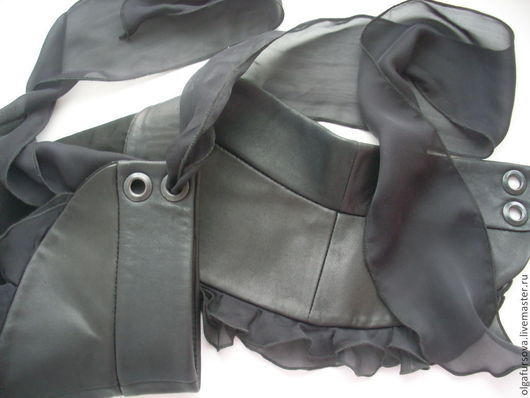 Пояса, ремни ручной работы. Ярмарка Мастеров - ручная работа. Купить Пояс из кожи и шифона. Handmade. Черный, пояс кожаный