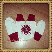 Аксессуары ручной работы. Ярмарка Мастеров - ручная работа Варежка для влюбленных Снежинка,комплект. Handmade.