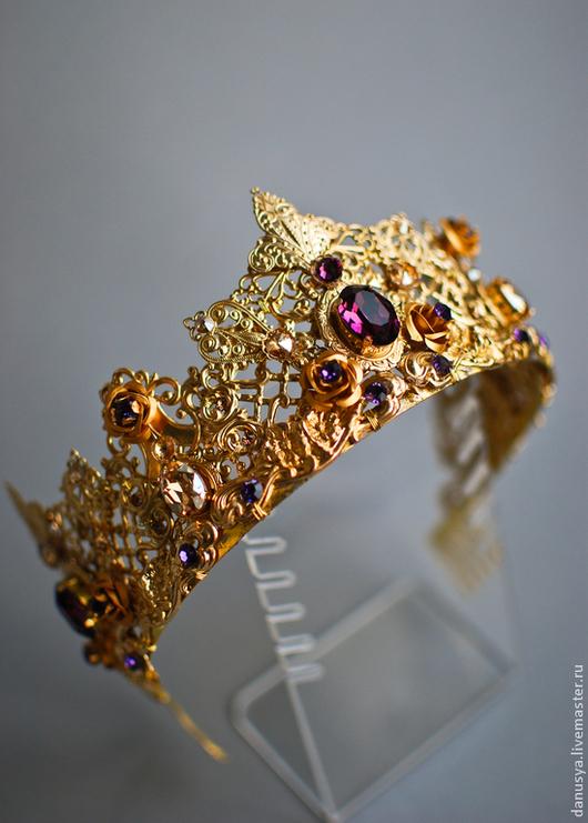 """Диадемы, обручи ручной работы. Ярмарка Мастеров - ручная работа. Купить Новая корона по мотивам украшений DOLCE&GABBANA """"Golden Lily"""". Handmade."""