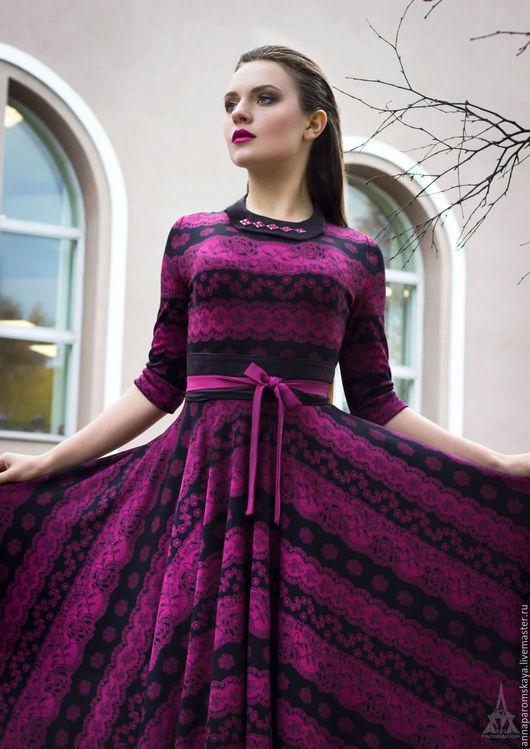 Платья ручной работы. Ярмарка Мастеров - ручная работа. Купить Платье из джерси+воротничок и пояс в подарок. Handmade. Разноцветный, платье с рукавом