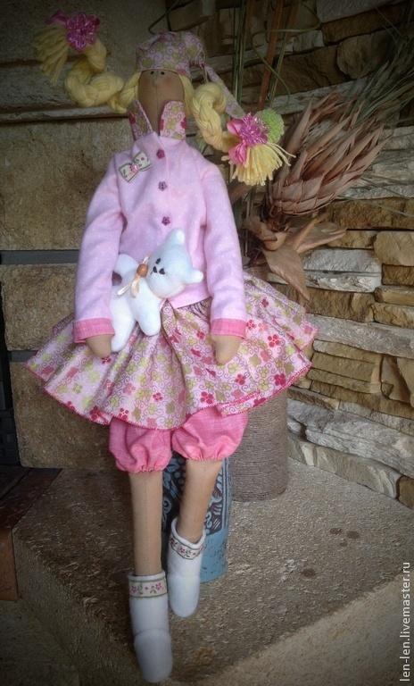 Куклы Тильды ручной работы. Ярмарка Мастеров - ручная работа. Купить Маша с медвежонком. Handmade. Розовый, текстильная кукла, флис