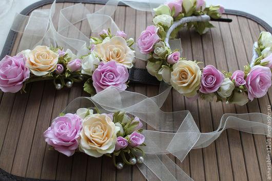 Свадебные украшения ручной работы. Ярмарка Мастеров - ручная работа. Купить Свадебный венок и браслет подружки невесты. Handmade. Разноцветный