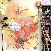 Картины и панно ручной работы. Ярмарка Мастеров - ручная работа Что может быть лучше путешествия по облакам в компании с лунным котом. Handmade.