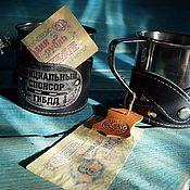 Посуда handmade. Livemaster - original item Mug in leather cover (sober thoughts). Handmade.