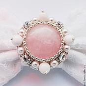 Свадебный салон handmade. Livemaster - original item Barrette bow pink quartz. Handmade.