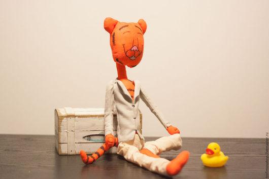 Игрушки животные, ручной работы. Ярмарка Мастеров - ручная работа. Купить Текстильная игрушка Тигр ручной работы. Handmade. Оранжевый