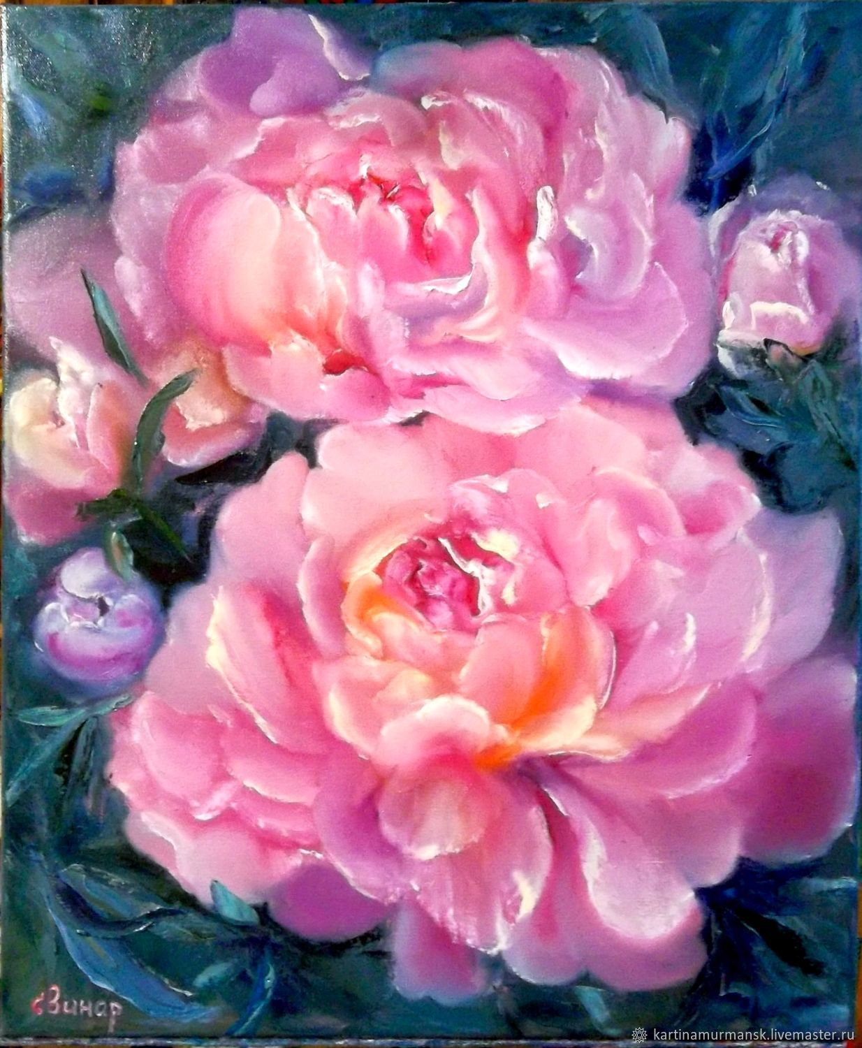 Painting with peonies oil on canvas 'magnificent peonies 2', Pictures, Murmansk,  Фото №1