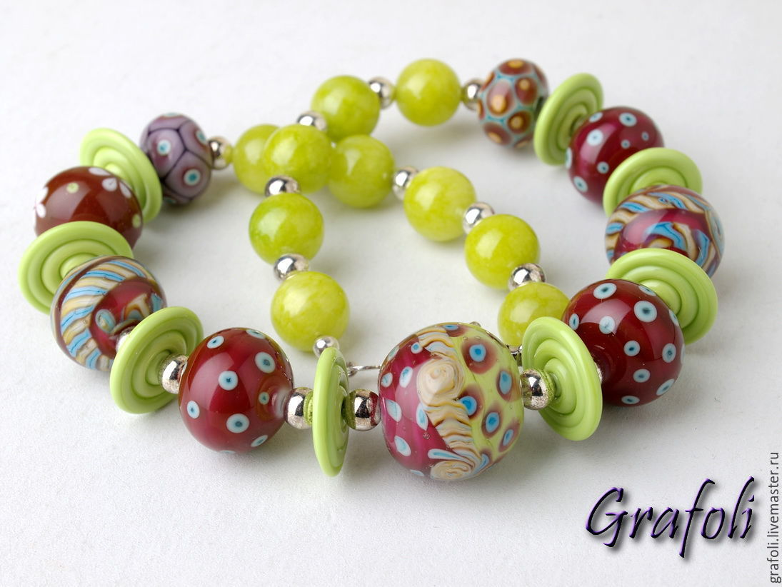 Beads from natural stones Burgundy, Necklace, Moscow,  Фото №1