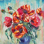Картины и панно handmade. Livemaster - original item Painting poppies oil on canvas 40/50