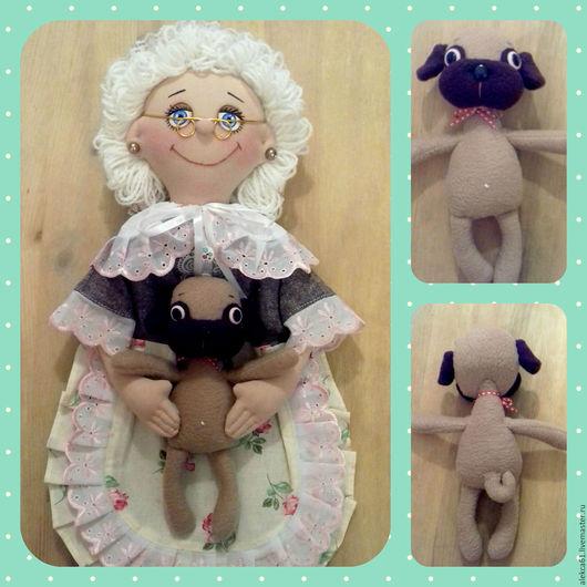 """Кухня ручной работы. Ярмарка Мастеров - ручная работа. Купить Кукла - пакетница """"Бабушка и мопс"""". Handmade. Коричневый, мопсик, пуговицы"""