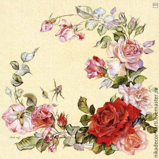 Декупаж и роспись ручной работы. Ярмарка Мастеров - ручная работа. Купить Венок из роз (210429) - салфетка для декупажа. Handmade. Разноцветный