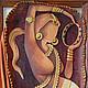 Картина из кожи, панно из кожи, картина ручной работы, картина в единственном экземпляре, картина в этническом стиле, индия