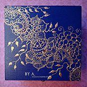 Для дома и интерьера ручной работы. Ярмарка Мастеров - ручная работа Синяя деревянная шкатулка для украшений и мелочей цветочный индийский. Handmade.